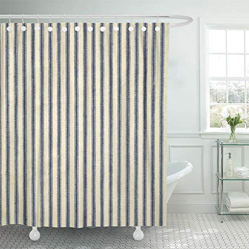 Semtomn Shower Curtain Stripe Retro Ticking Blue White Striped Vintage Traditional Primitive 72