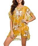 Taydey Women's Stylish Chiffon Tassel Beachwear Bikini Swimsuit Cover up (H-Yellow Flower, One Size)