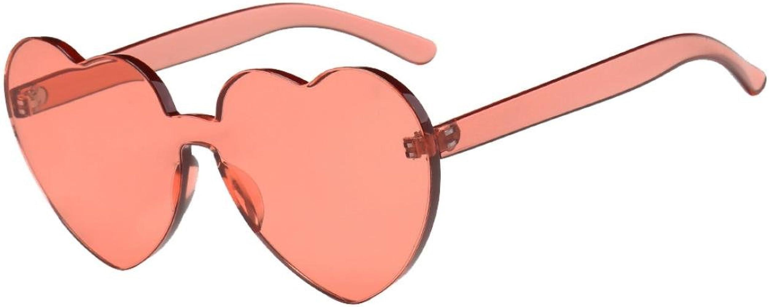 Lunettes de Soleil pour Homme et Femme Vintage Eyewear Pas cher Femme Rétro Candy Sunglasses Colorées Mode Lunettes Coeur Miroité Verres Plats