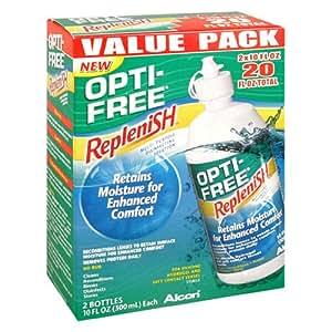 Opti-Free Replenish Multi-Purpose Disinfecting Solution, Value Pack, 2 - 10 fl oz (300 ml) bottles [20 fl oz]
