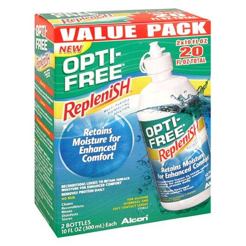 Opti-Free Replenish Multi-Purpose Solution désinfectante, Value Pack, le 2 - 10 fl oz (300 ml) bouteilles [20 fl oz]