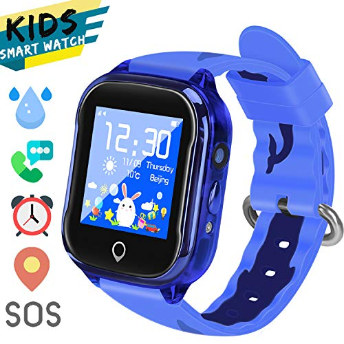 LTAIN Kids Smart Watch Waterproof Phone Smartwatch for Children Anti-Lost GPS Tracker Phone Watch with 1.44 inch Touch Screen SOS Canera Timer Game Birthday Gift for Boys and Girls (Blue