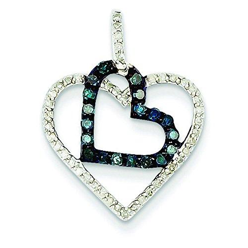 Blanc et or blanc 14 carats Diamant Pendentif Coeur-JewelryWeb