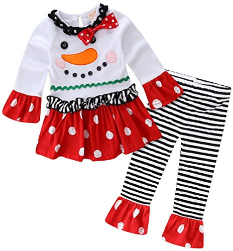 Baby Girls 2 Pieces Christmas Santa Long Sleeve Shirt Pants Outfit Set Size 3-4Years/Tag110 (Snowman) -
