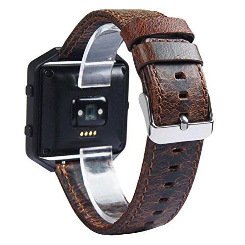 Alonea Retro leather Watch Bracelet Strap Band For Fitbit Blaze Smart Watch (Brown)