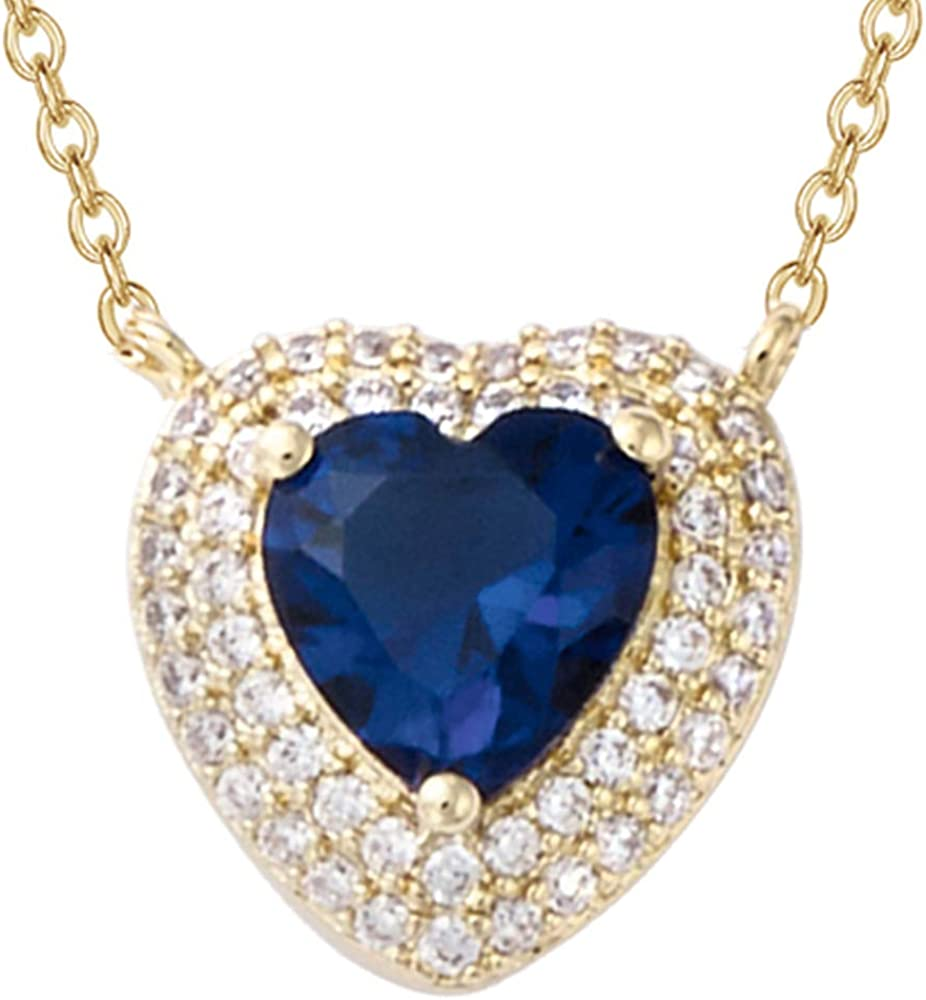 Xmas Pendant Rectangle Blue Sapphire 18K White Gold Plated CZ Necklace Chain