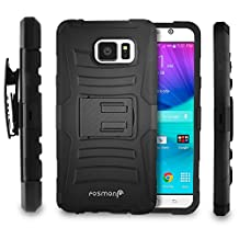 Fosmon Samsung Galaxy Note 5 Case: (STURDY) Heavy Duty Hybrid Shell Case and Holster with Kickstand for Samsung Galaxy Note 5 - Fosmon Retail Packaging (Black)