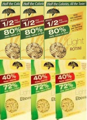 Fiber Gourmet (3) Boxes Low Carb Light Rotini and (3) boxes Low Carb Light Elbows Total 6 items