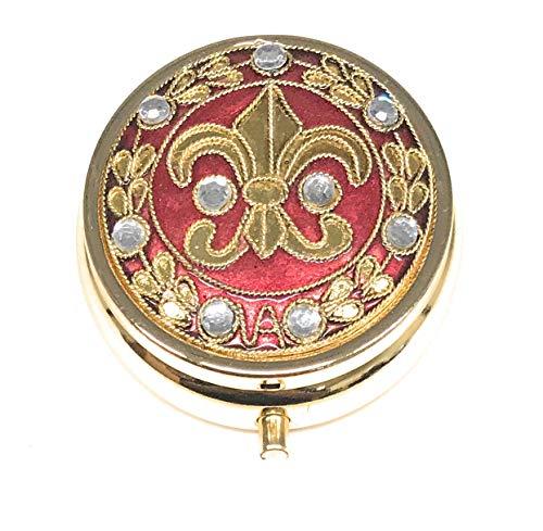 Cloisonne Fleur de Lis Pill Box, 3 Compartments, Pink and Gold, 1.75 Inch Diameter