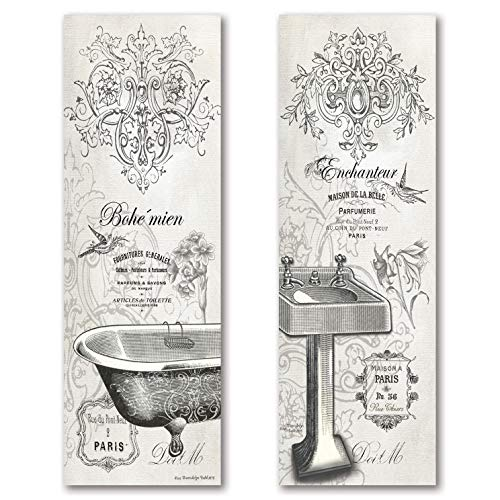 - 2 Vintage French Claw-foot Bathtub and Sink Panel Prints; Two 6x18 Poster Prints