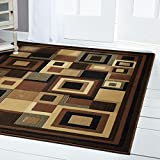 Home Dynamix Catalina Virginia Area Rug | Geometric Living Room Area Rug | Abstract Squares Border Design | Transitional and Neutral Tones | Black/Brown 1'9x6'9'' Runner