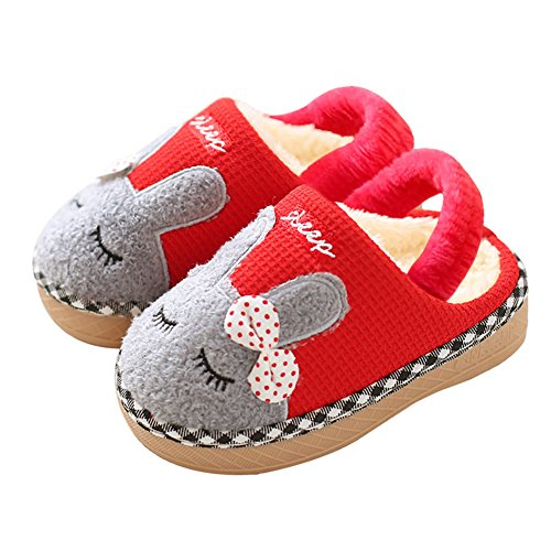 ae619405b7024 SITAILE Cute Home Shoes, Kids Fur Lined Indoor House Slippers Bunny Warm  Winter Home Slippers for Girls Red 14-15