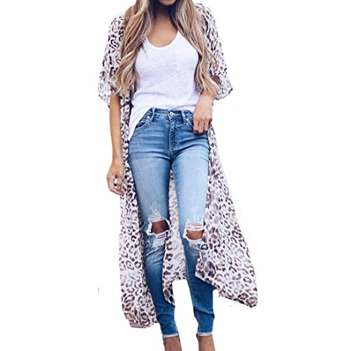 (Women Fashion Long Sleeve Floral Leopard Print Cardigan Kimono Long Chiffon Robe Coat Beach Cover Up Blouse Tops (XL, White))