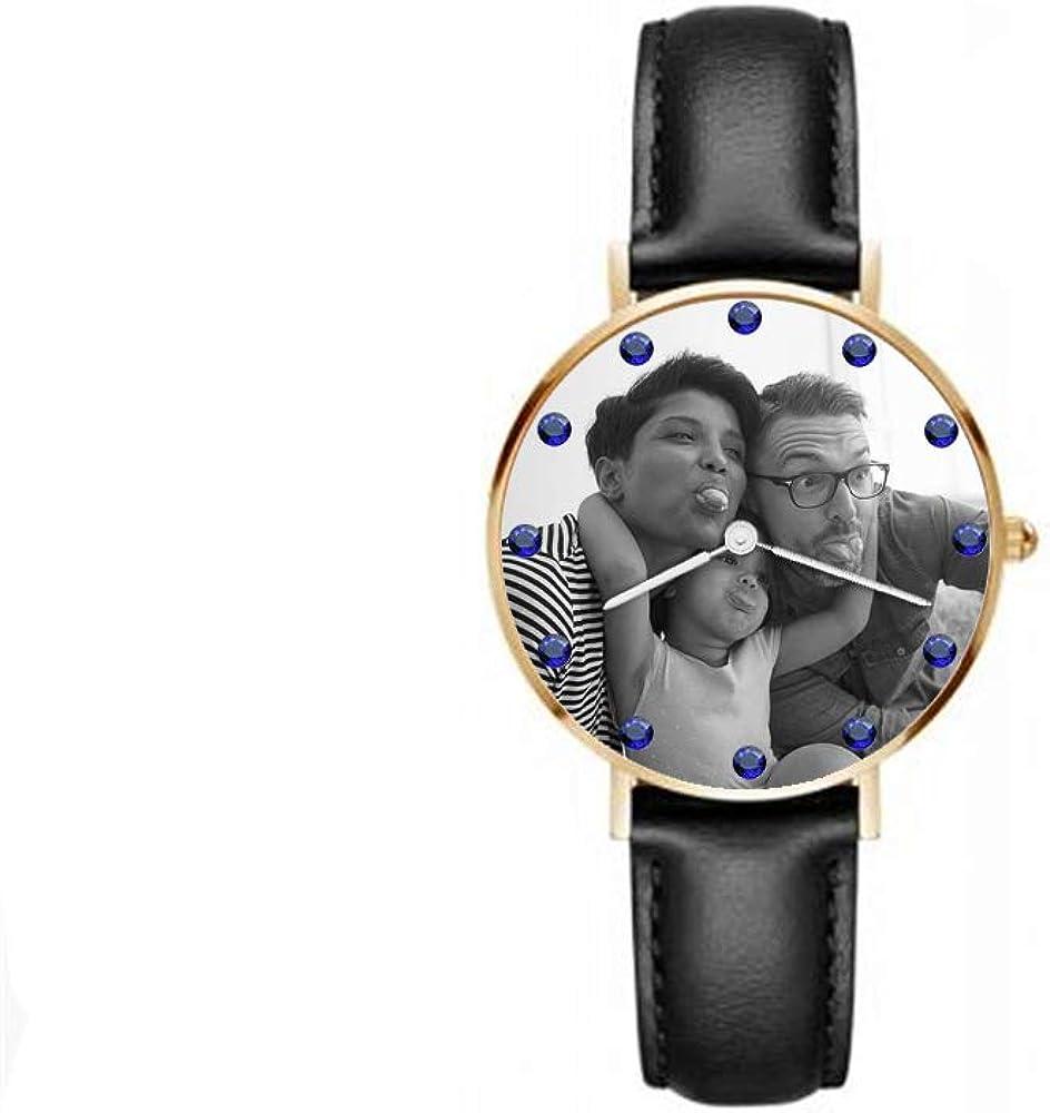 Reloj de Texto Personalizado con Foto Reloj de Piedra Natal Casual para Hombres Reloj de Banda de Cuero Simple para Hombre
