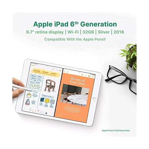 "Apple iPad   9.7""   6th GEN   WI-FI   32GB   Silver   2018   (Renewed) 4"