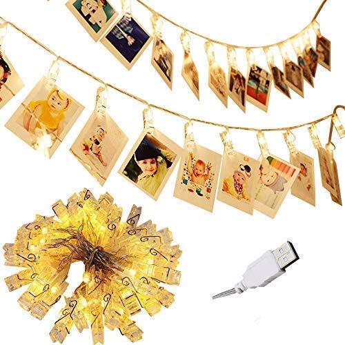Adecorty 40 LED Photo Clip Lights – Photo Clips String Lights USB Powered Fairy Lights, Hanging Lights for Christmas…