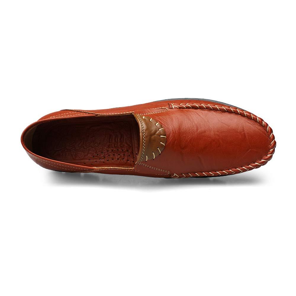 Apragaz Männer Classic On Echtes Leder Casual Slip On Classic Mokassin Loafers Breathable Fahr Schuhe Mode Slipper (Farbe : Khaki, Größe : 45 EU) Braun f8a07e