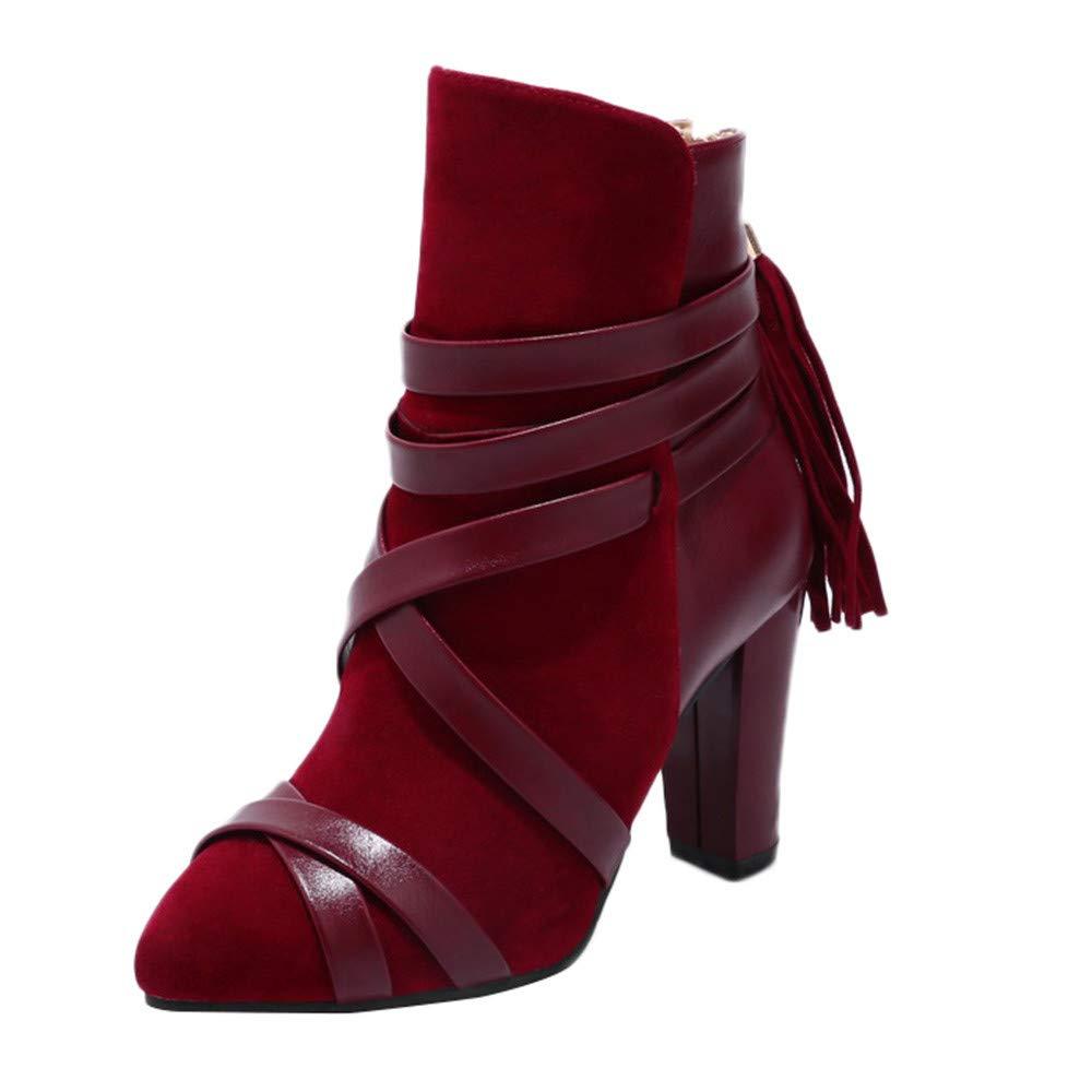 Vibola Women Martin Boot Snow Boots, Tassel High Heel Non-Slip Pointed Non-Slip Shoes Vibola®