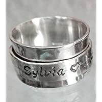 Personalized text, sterling silver rotating - spinner - ring with secret code and custom text.