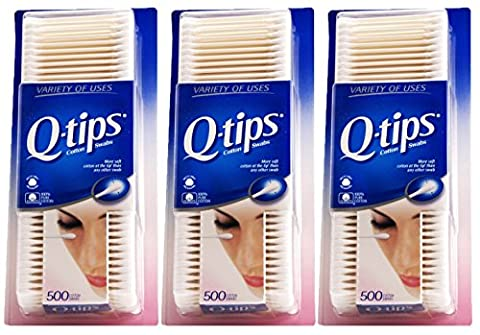 Q Tips Cotton Swabs Size 500s Q-Tips Cotton Swabs 500ct (Pack of 3) - 500 Count Pack