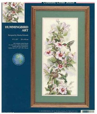 Zamtac Top Quality Lovely Beautiful Counted Cross Stitch kit Hummingbird Art Dimensions 13667 Bird and Peony Flower 14CT 30X55CM - (Cross Stitch Fabric CT Number: 16CT unprinting aida)