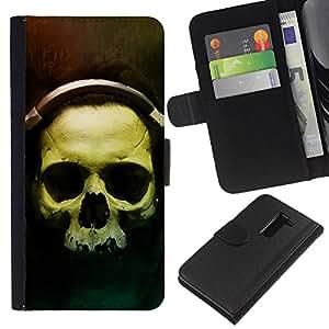 KLONGSHOP // Tirón de la caja Cartera de cuero con ranuras para tarjetas - Cráneo Auriculares - LG G2 D800 //