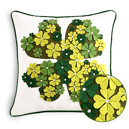 Cassiel Home Shamrock St Patricks Day Pillow Covers 18x18 Green Embroidery Clovers IrishPillow Applique Diamond Throw Pillow Cover 18x18 inch White Spring Green