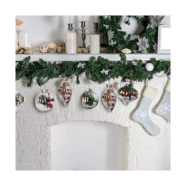 Palle di Natale Plastica (Set da 12) - Palline di Natale Trasparenti per Fai-da-Te con Filo, 3 Disegni x 4 Cad. per Decorazioni Natalizie, Addobbi per Feste di Compleanno, Addobbi Natalizi per Albero 6 spesavip