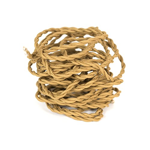 Rustic State Twisted 18/2 Cloth Fabric Electrical Cord for Vintage and Antique Lamps, Rayon 18 Gauge, Great For Industrial Vintage DIY Projects 10 Feet (Brown)