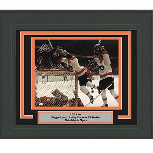 Framed Autographed/Signed LCB Line Reggie Leach, Bobby Clarke & Bill Barber 16x20 Philadelphia Flyers Hockey Photo JSA COA