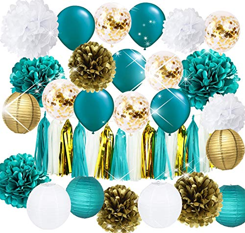 Teal Gold and Gold Confetti Latex Balloons Teal Balloons Tissue Pom Poms Lanterns Tassel Garland Gold and Teal Baby Shower Wedding Bridal Shower Teal Engagement/Teal Gold Birthday Party -