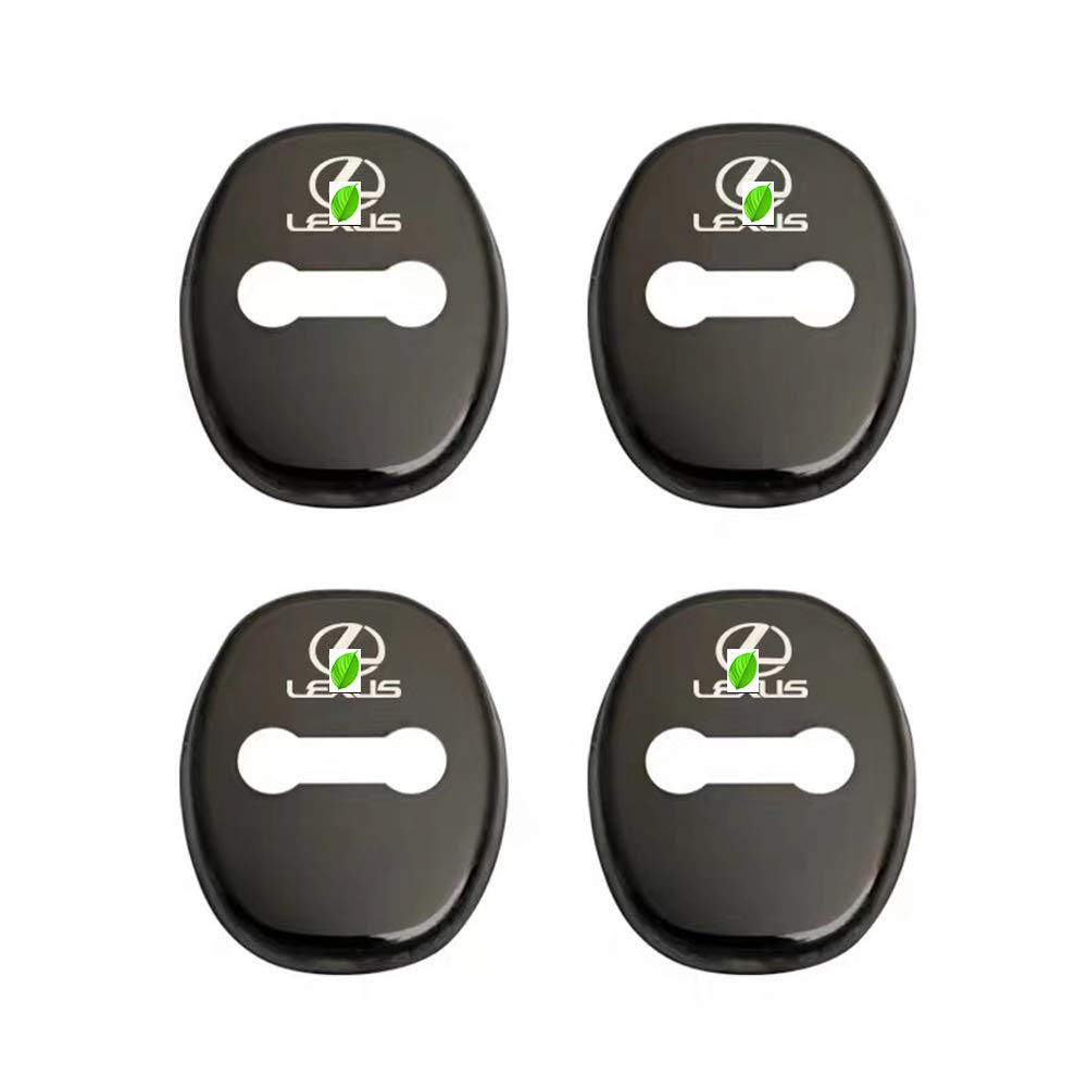 Black 3M Adhesive Backing( Pack of 4) Duoles Stainless Steel Car Door Lock Latches Cover Protector for Lexus ES NX RX LS CT LX UX GS LC RC GS-F RC-F