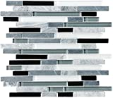30 Square Feet - Bliss Midnight Stone and Glass Linear Mosaic Tiles