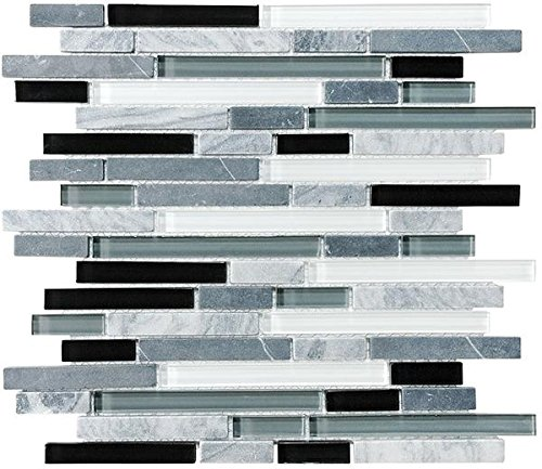 - 10 Square Feet - Bliss Midnight Stone and Glass Linear Mosaic Tiles - Bathroom Walls/Tub Surround/Kitchen Backsplash