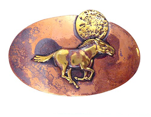American-Made Rustic Copper Hair Barrette with French-Made Clip: Galloping Horse
