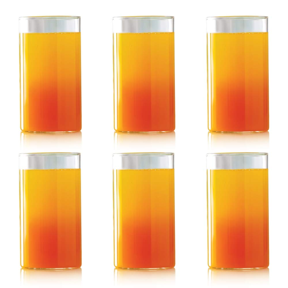 Borosil VCL350 Vision Classic [Set of 6] Premium Clear Lightweight & Durable Drinkware, Odor Resistant, Dishwasher Safe - For Water, Juice, Beer, Wine, and Cocktails, | | 12 Ounce Cups, Glass