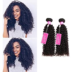 ISEE Hair Virgin Malaysian Deep Curly Jerry Curly Human Hair 3 Bundles,100% Unprocessed Human Curly Hair Extensions Natural Black Can Be Dyed 18 20 22inches