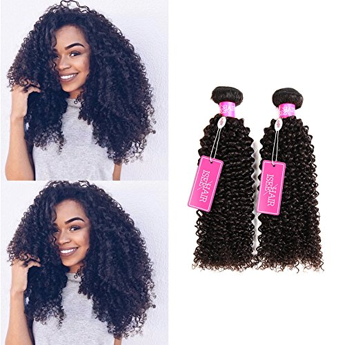 ISEE Hair Virgin Malaysian Deep Curly Jerry Curly Human Hair 3 Bundles,100% Unprocessed Human Curly Hair Extensions Natural Black Can Be Dyed 16inches