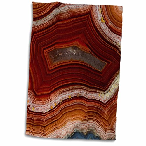 3D Rose Banded Agate-Rust Colored Hand Towel, 15