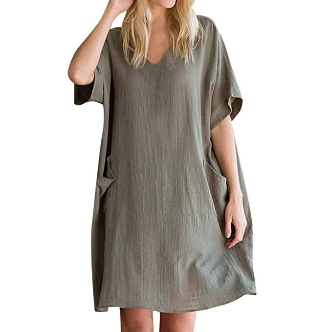 1a273eb436 Women s Summer A-Line Dresses Plus Size Vintage Linen Mini Shirt Dress  Casual Loose Short Sleeve V Neck Pocket Oversized Long Tunic Tops Summer  Holiday ...