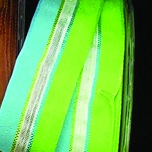 Green and Blue Narrow Taffeta with Sheer White Stripe Wired Craft Ribbon 22mm x 108 Yards