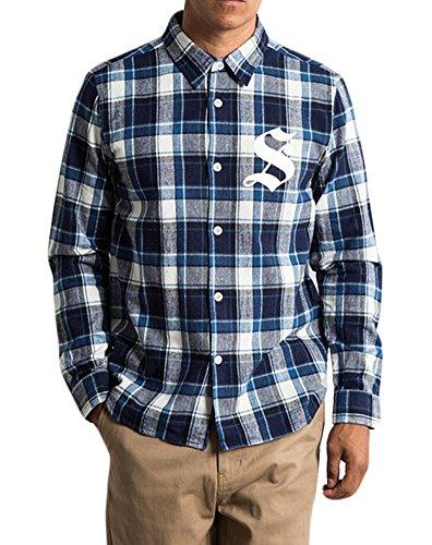 Stussy Men's Lb Plaid L/s Flannel Button up Large Blue