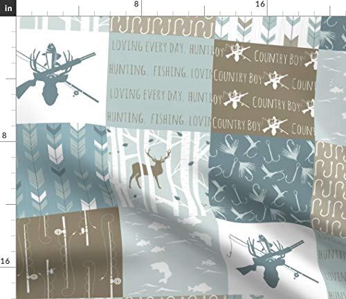 Spoonflower Country boy Fabric - Baby Blue Deer Camping Deer Hunting Fishing Buck Antlers Camping Cheater Quilt by Buckwoodsdesignco Printed on Fleece Fabric by The Yard ()