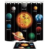 NYMB Solar System Orbit the Sun with Names Of Planets Geography Kids 69X70in Mildew Resistant Polyester Fabric Shower Curtain Suit With 15.7x23.6in Flannel Non-Slip Floor Doormat Bath Rugs (Multi21)
