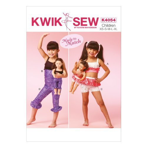KWIK-SEW PATTERNS K4054 Girls'/Dolls' Tops, Shorts and Leggings, All Sizes by McCall Pattern Company, us kitchen, MCCBH