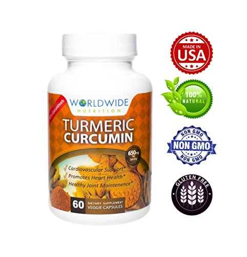 Worldwide Nutrition Turmeric Curcumin with BioPerine 1500 Milligram and 95 Percent Standardized Curcuminoids for Pain Relief and Joint Support, 60 Capsules