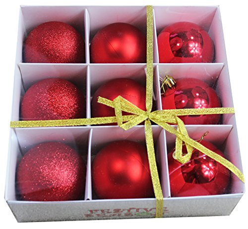 Festive Season Red Shatterproof Christmas Balls Ornaments, Tree Decorations (Set of 9, 80mm) Large Ball Ornament