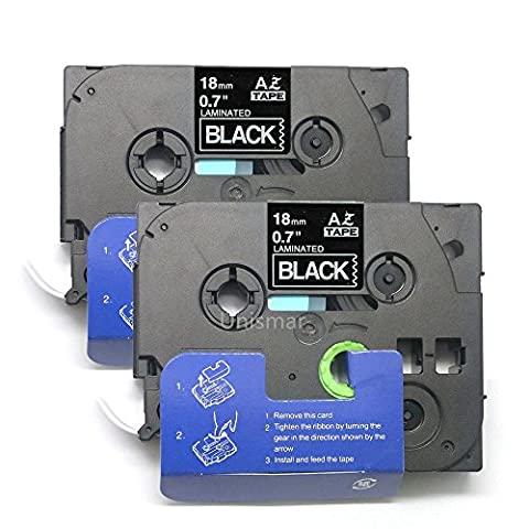 Unismar 2 Pack Compatible TZe-345 TZe345 TZ-345 TZ345 Laminated Tape White on Black 18mm (3/4