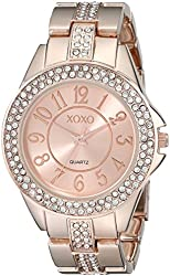 XOXO Women's XO5466 Rhinestone-Accented Rose Gold-Tone Bracelet Watch