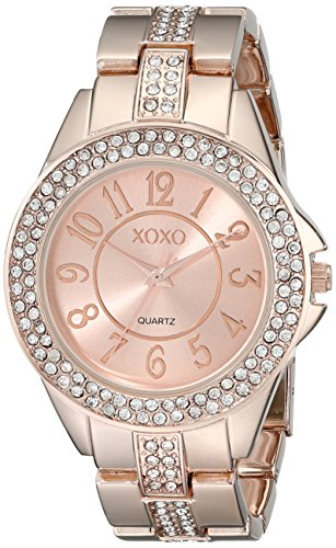 XOXO Womens XO5466 Rhinestone Accent Rose Gold Analog Bracelet Watch